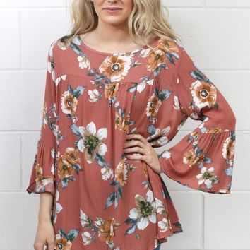 Grand Time Floral Blouse {Mauve Mix}