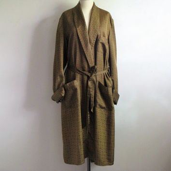 Vintage 1960s Mens Antique Green Medallion Leisure Lounge Robe Large
