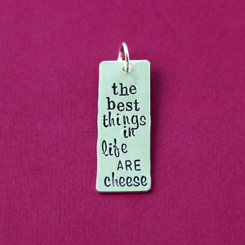 Sterling Silver Bar Necklace - Tiny Silver Necklace - The Best Things In Life Are Cheese - Cheese Lover - Foodie Gift