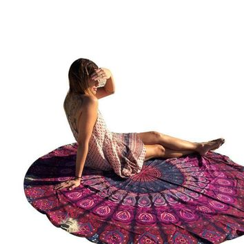 ESBU3C Stylish 2016 Round Hippie Tapestry Beach Throw Roundie Mandala Towel Yoga Mat Bohemian Free Shipping JL12