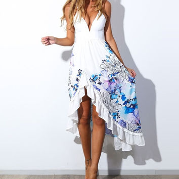 2015 Fashion Women Clothing Sexy Deep V-Neck Floral Print Asymmetrical Long Dress Beach Style = 1667727684
