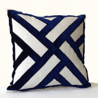 Ivory Linen Navy Blue Velvet Applique Pillow Cover -Geometric Pattern Pillows -Contemporary Decor -All sizes -Decorative Throw Pillows -Gift