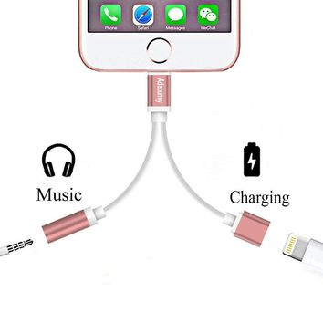 2 in 1 Lightning to 3.5mm Audio Adapter, ADABUNNY Lightning Charger, Lightning to 3.5mm Aux Headphone Jack Adapter for iphone 7 / 7 plus [No Calling Function and No Music Control] (2 in 1-rose gold)