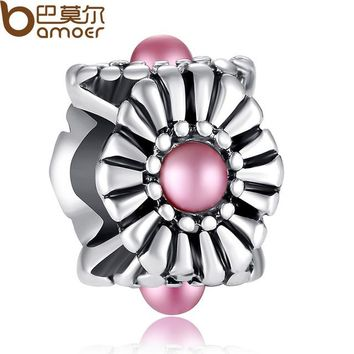 Original Big Hole Silver Color Pink Crystal Charm Ball Fit PAN Bracelet Necklace Accessories PA5272