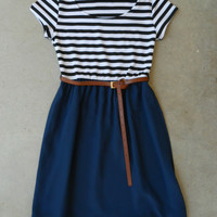 .Stripes & Navy Dress [5937] - $37.80 : Vintage Inspired Clothing & Affordable Dresses, deloom | Modern. Vintage. Crafted.