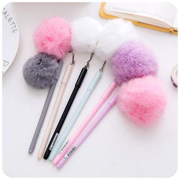Rabbit Pompom Tail Gel Pen Black 0.5mm Korean Stationery Pen Rabbit Plush Kawaii Gel Penseel for Office and School Supplies Gift