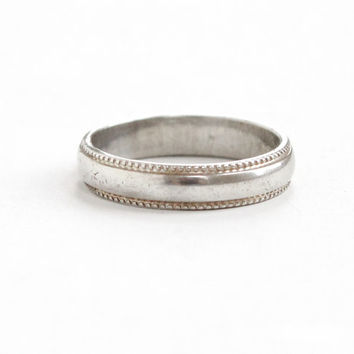 Vintage Sterling Silver Ring - Size 4 Milgrain Eternity Cigar Band Jewelry Hallmarked Vargas