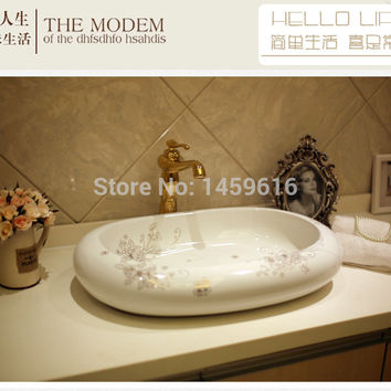 Oval Bathroom Lavabo Ceramic Counter Top Wash Basin Cloakroom Hand Painted Vessel Sink 5046
