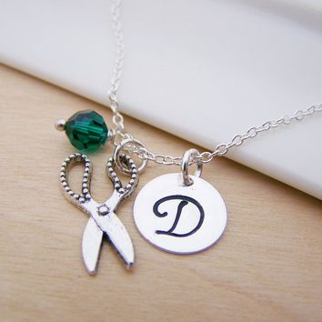 Scissors Hair Stylist Charm Swarovski Birthstone Initial Personalized Sterling Silver Necklace / Gift for Her