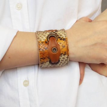 Woman leather cuff, leather bracelet, brown snake leather cuff.