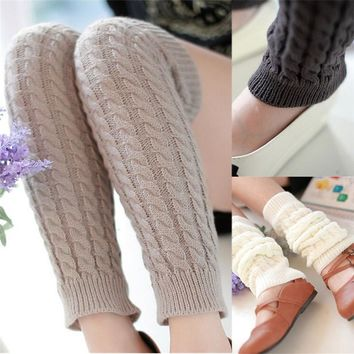 Fashion Leg Warmers Gaiters Boot Cuffs Thigh High Warm Knit Knitted Knee Socks Black Christmas Gifts for Women Girls