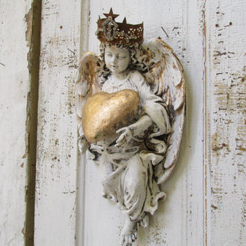Angel statue wall sculpture shabby chic hand painted distressed holding heart home decor Anita Spero