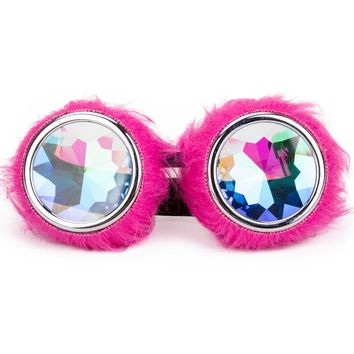 Hot Pink Fur Kaleidoscope Glasses
