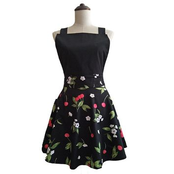 Black Cherry Retro Kitchen Apron Woman Cotton Cooking Salon Avental de Cozinha Divertido Pinafore Apron Dress Vintage