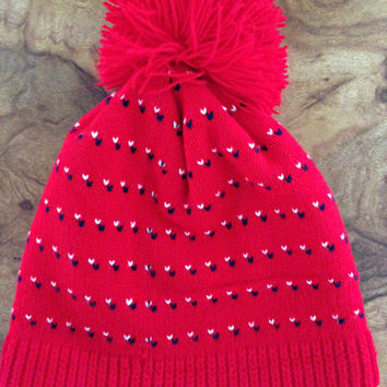 1970's Bright Red Pom Beanie - Warm Winter Hat - White & Navy Blue Birdseye Pattern - Vintage Ski Cap
