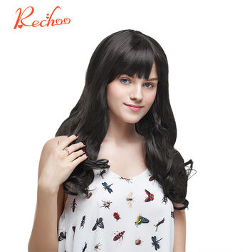 Rechoo Body Wave Non-Remy 100% Human Hair #1B Color Natural Black Clip In Hair Extensions 12 14 16 18 Inches 70G Clips In