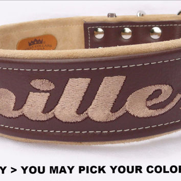 "Dog Collar: Leather w/ Suede - 2"" Wide - Personalized - Adjustable (Sizes from 18-24) Example 4"