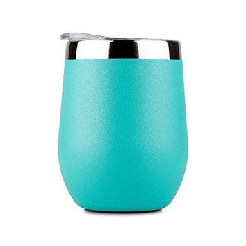 DOKIO 12 oz Wine Glasses Sippy Cup Cyan Tumbler Stemless Stainless Steel Double Wall Vacuum Insulated With Lid Unbreakable BPA Free Ice Hot Drink Coffee Champagne Cocktail Mug For Home Outdoors