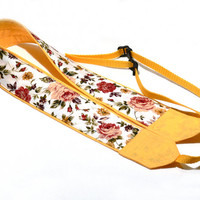 DSLR Camera Strap. Roses Camera Strap. Yellow Camera Strap with flowers. Women Accessories