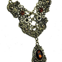 Bronze Corset Chain Lace Victorian Gear Necklace with Amber Stone