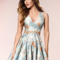 KAYLEE - Patterned Jacquard Godet Skater Dress