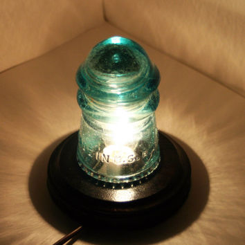 Fizzy Blue Hemingray Number 9 Antique Insulator Night Light ~ Upcycle Desk Lamp ~ Vibrant Aqua Turquoise