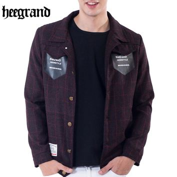 HEE GRAND 2017 Fashion Style Autumn Men Outerwear Plaid & Print Pocket Coats Casual Male Jackets MWJ2396