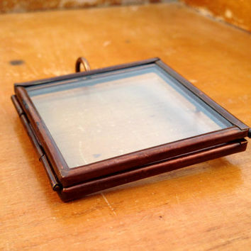 Double Sided Square Glass Frame Pendant Hinged Floating Locket Charm Vintage Style Antique Bronze Jewelry Supplies DIY