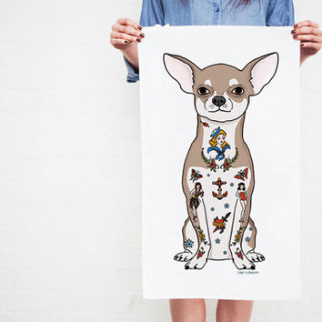 Tattoo Chihuahua Tea Towel (chiwawa, chiuaua) SHIPS IN 2-4 WEEKS
