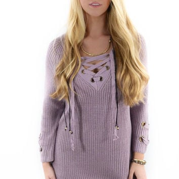 St. Cloud Lavender Grommet Sweater