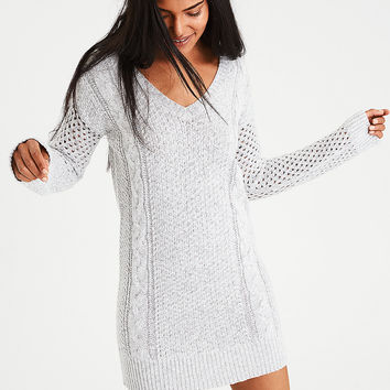 AE Ahh-Mazingly Soft Cable Knit Sweater Dress, Oatmeal