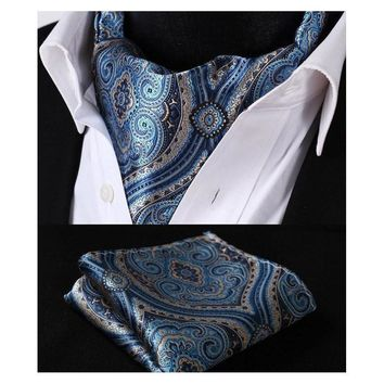 Men's Floral Blue Ascot/Cravat Tie & Handkerchief Collection