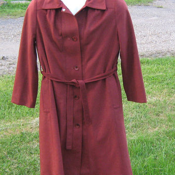Vintage 1970s Maroon Sears Velour Lightweight Button Up Trench Coat/Jacket - with Removable Flannel Lining - Size 10