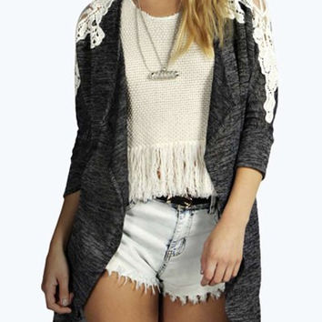 Gray Cut Out Lace Panel Cardigan