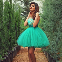 Green Tulle Homecoming Dress, Junior Dress,  Cocktail Dress
