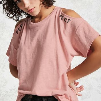 Split Graphic Open-Shoulder Tee