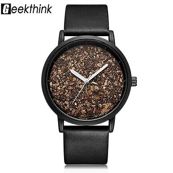 Geekthink Natural Gravel Stone Face Wooden face Fashion Men Brand Quartz Watches Women Ladies Casual Designer Wristwatch Dress