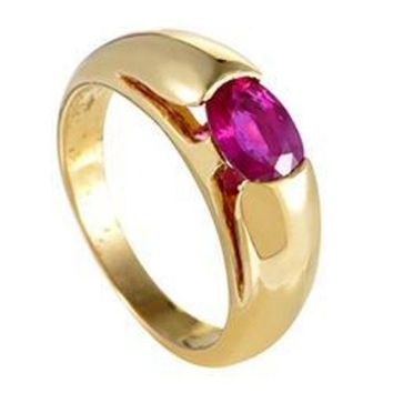 CREY3DS Bulgari Gold Ruby Solitaire Band Ring