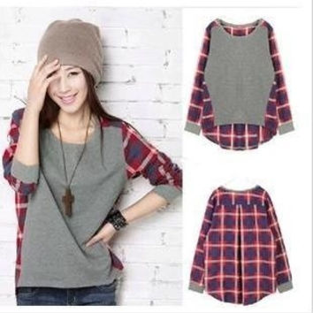 New Womens Fashion Round Neck Plaid Stitching Loose Long Sleeve T-shirt Tops S M L XL XXL