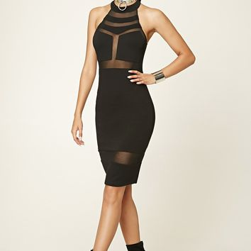 Caged Mesh-Panel Dress