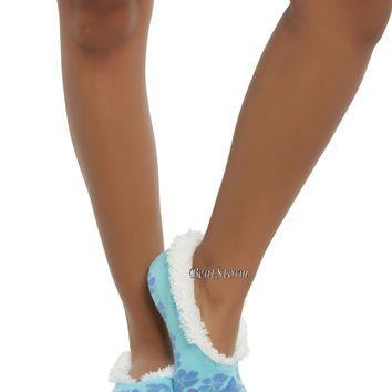 Licensed cool Disney Lilo Stitch Hibiscus Cozy Fluffy Faux Fur Slippers Socks Anti Slip Soles