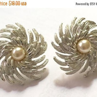 Pearl Earrings-Sarah Coventry Pearl Earrings-Pinwheel-Clip Style-Designer Signed-Silver Tone Vintage