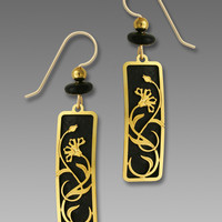 Adajio Earrings - Black Column with Gold Plated Rectangle Art Nouveau Style Floral Filigree