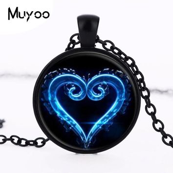 Kingdom Hearts Emblem Symbol Glass Pendant Necklace Charms Personality Occult Choker Necklaces Pendants Jewelry HZ1