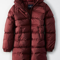 AE Long Hooded Puffer Coat, Burgundy Light