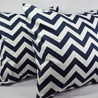 2 Chevron Decorative Pillow Covers Blue and White - 20 x 20 inches Throw Pillow Cushion Cover Accent Pillow