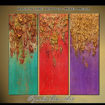 Abstract Painting, Sculpture, Mixed Media Art, Triptych, Unique Texture, Ready to hang, Modern, Gold, Copper, Turquoise, Llilac, Red, Wall