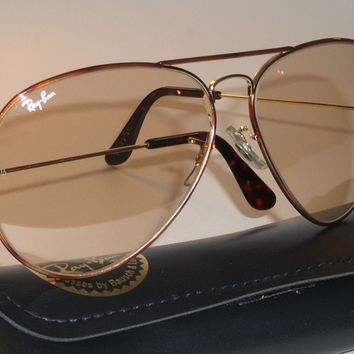 Cheap 62mm VINTAGE B&L RAY BAN TORTUGA PHOTO BROWN CHANGEABLES AVIATOR SUNGLASSES * outlet