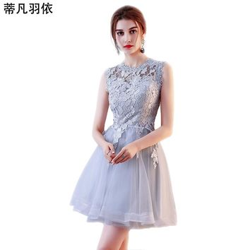 Original Real Photo Prom Dress 2018 New Arrival Hollow out Lace A-line Short Prom Gown Sleeveless Banquet Party Gown Vestidos
