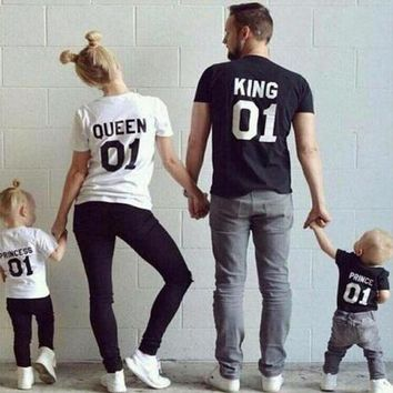 PEAPUNT KING QUEEN Prince Princess 01 Letter T-Shirt Men/women Children's t shirt Hipster Clothes Cotton top tee Family Matching Outfits